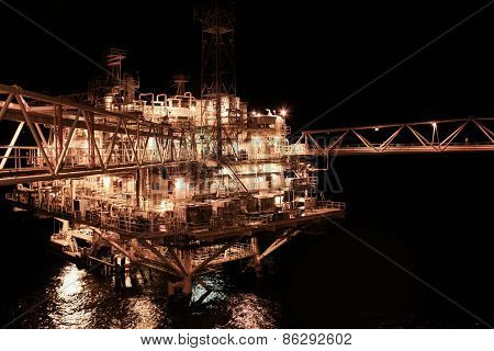 oil and gas construction in offshore for production. Oil and gas production process.