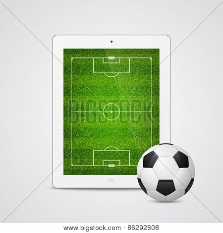 Vector modern white tablet with a soccer ball