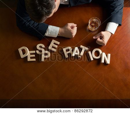 Word Desperation and devastated man composition