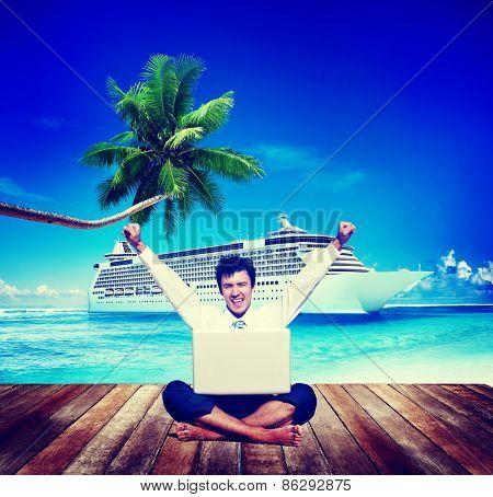 Businessman Business Travel Beach Working Success Concept