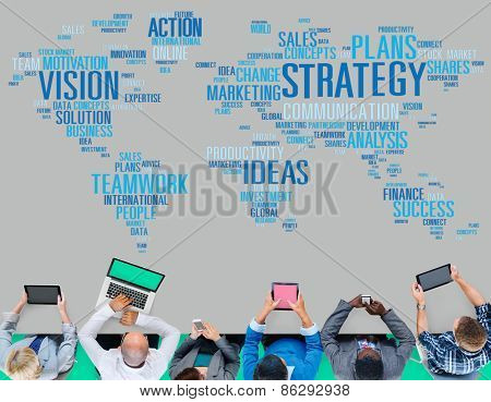 Strategy Action Vision Ideas Analysis Finance Success Concept