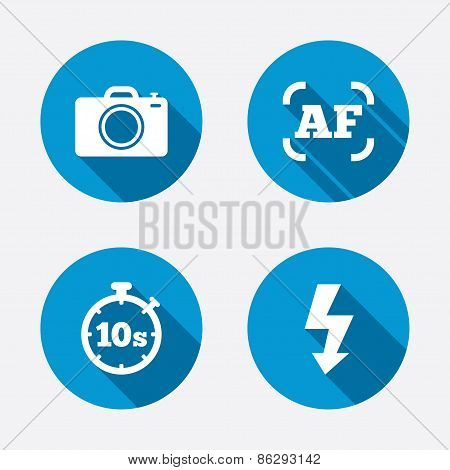 Photo camera icon. Flash light and autofocus AF.