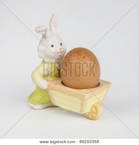Rabbit shaped egg cup with boiled egg