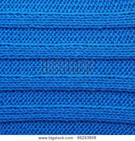 Knitted blue material fragment