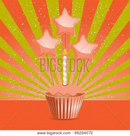 Orange Birthday Cupcake