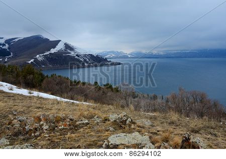 Winter Landscape Of Sevan,Largest Lake In Armenia And Caucasus, view From Sevanavank,Armenia