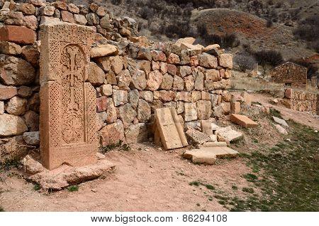 Khachkars Of Noravank Monastery,medieval Christian Art,armenia, Caucasus, Unesco World Heritage Site