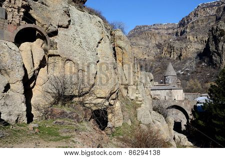 View Of Geghard Rock Monastery With Ancient Khachkars ,armenia, Caucasus, Unesco World Heritage Site