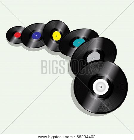 Records Flying On Vintage Green Background