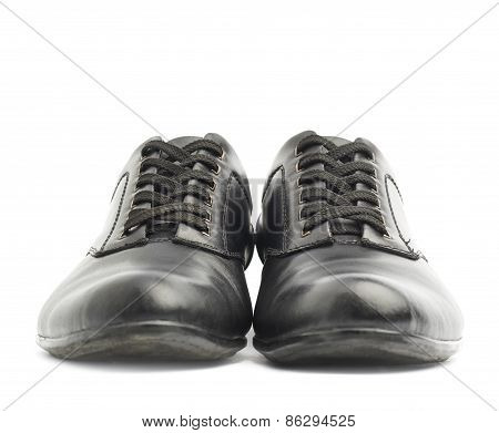 Classic black leather shoes isolated
