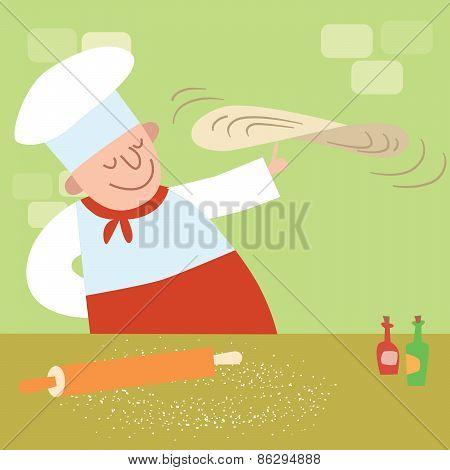 Restaurant Cook In The Kitchen Cooking Pizza
