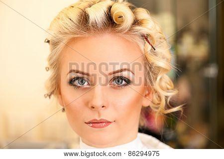 beautiful makeup woman in a beauty salon
