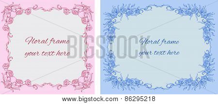 set of two cards with floral-style frames