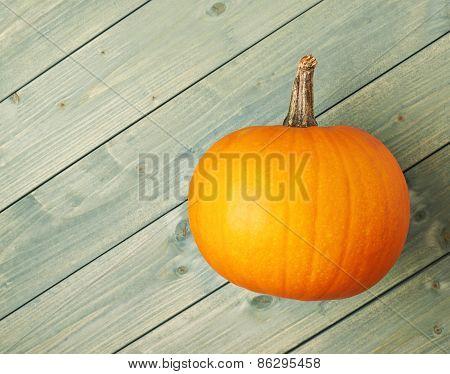 Orange pumpkin over the wooden boards