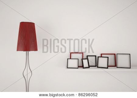 Abstract design lamp and blank picture frames