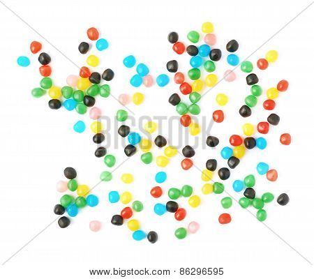Multiple ball candies spilled over the surface