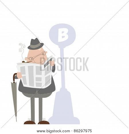 Man smoking a pipe and reading a newspaper.