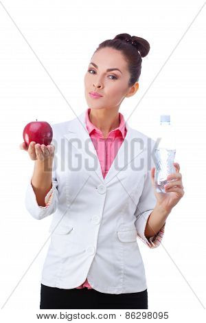 Doctor Nutritionist Woman holding health food and drink