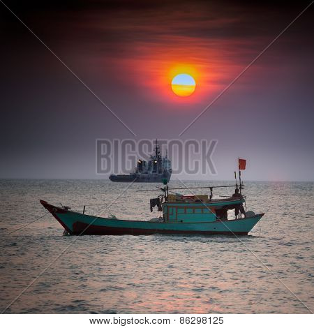 Small fishing boat in South China Sea, Vung Tau, Vietnam