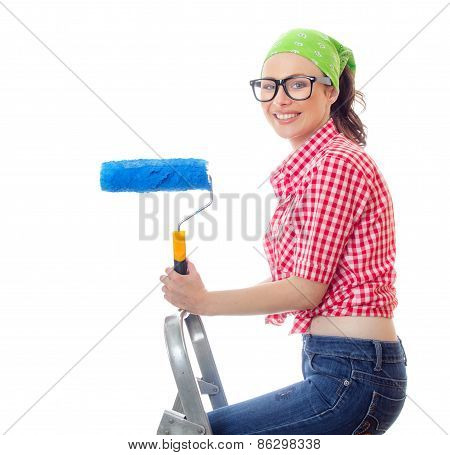 Smiling Woman Holding Roller And Standing On Ladder, Isolated On White