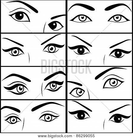 Eight Pairs Of Female Eyes