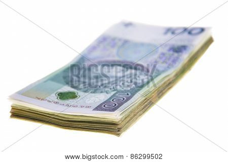 Polish Banknotes Stacked