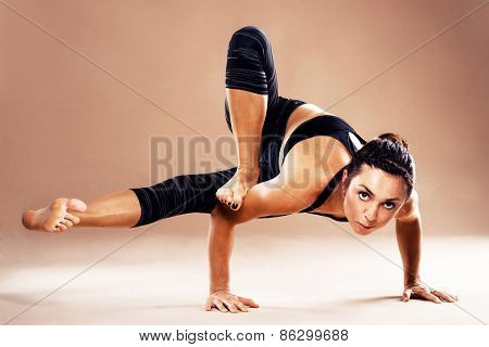 Beautiful Woman Is Doing Yoga Asana