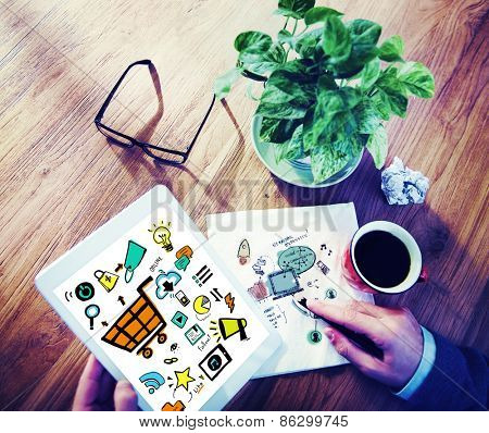 Businessman Online Marketing Digital Devices Working Concept