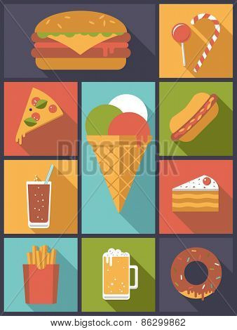Fast Food icons vector illustration. Vertical flat design illustration with various fast food symbols