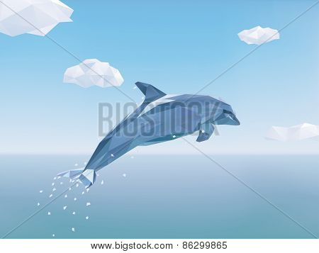 Low Poly Dolphin jumping out of the ocean. Vector Illustration of Dolphin jumping from the sea, some clouds in the sky.