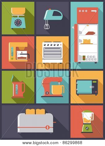 Kitchen Appliances icons vector illustration. Vertical flat design illustration with various kitchen appliance symbols.