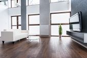 picture of exclusive  - Exclusive living room interior with plasma TV on the wall - JPG