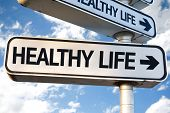 pic of directional  - Healthy Life direction sign on sky background - JPG