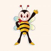 picture of bee cartoon  - Bee Cartoon Theme Elements - JPG
