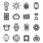 stock photo of analogy  - Digital and analog clock and sand watch black icons set isolated vector illustration - JPG