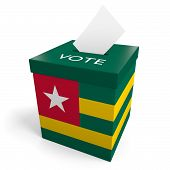 picture of ballot-paper  - A ballot box bearing the Togolese flag - JPG
