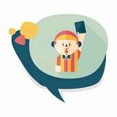 image of referee  - Soccer Referee Flat Icon With Long Shadow - JPG