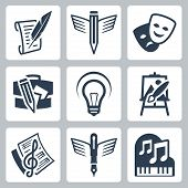 foto of g clef  - Art related vector icons set - JPG