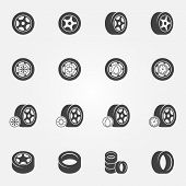 foto of manometer  - Tire icons set  - JPG