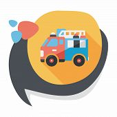 pic of fire truck  - Transportation Fire Truck Flat Icon With Long Shadow - JPG