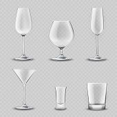 stock photo of alcoholic drinks  - Empty alcohol drinks glassware transparent realistic 3d set isolated vector illustration - JPG