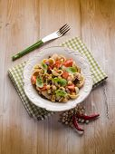picture of aubergines  - cold pasta salad with aubergine chickpeas and fresh tomatoes - JPG