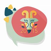 stock photo of chinese zodiac  - Chinese New Year Flat Icon With Long Shadow - JPG