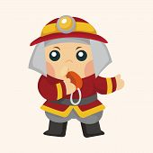stock photo of fireman  - fireman theme elements - JPG