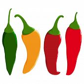 image of chili peppers  - A set of hot chili peppers in four colors - JPG