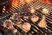 pic of barbecue grill  - ?hicken Legs On The Hot Barbecue Grill. Flame Of Fire On The Background. - JPG