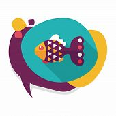 picture of long-fish  - Pet Fish Flat Icon With Long Shadow - JPG