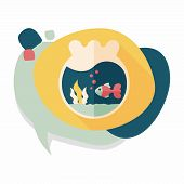 stock photo of goldfish  - Pet Goldfish Bowl Flat Icon With Long Shadow - JPG