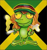 picture of jamaican  - Rastafarian frog cartoon on jamaican flag background - JPG