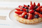 image of custard  - Homemade dacquoise tartlete with custard and berries - JPG